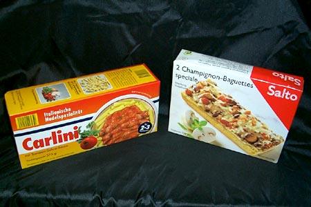 Pasta- und Baguette-Packung